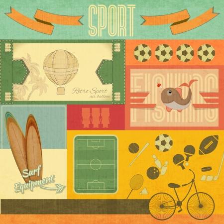 surf silhouettes: Card Sport Retro. Articolo sportivo in stile vintage. Illustrazione vettoriale.
