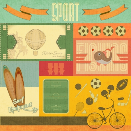 Retro Sport Card. Sport Items in Vintage Style. Vector Illustration. Çizim