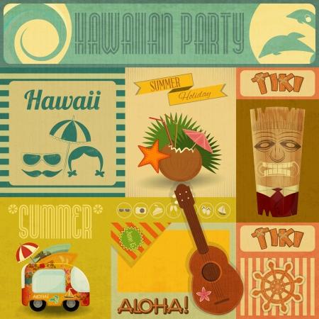 tarjeta postal: Hawaii del vintage. Juego de pegatinas para la fiesta hawaiana en estilo retro. Ilustración vectorial.