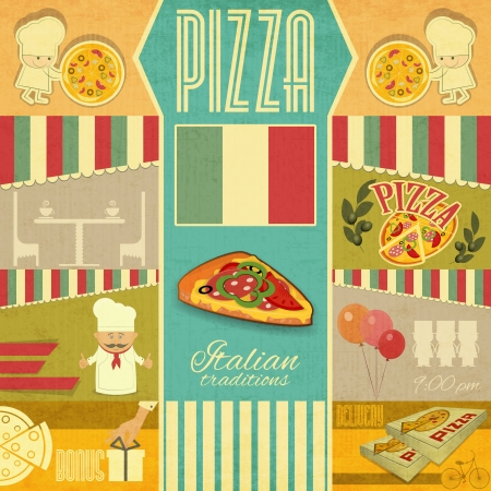 pizzeria label: Vintage card Menu for Pizzeria. Set of Pizza Cards in Retro Style. Vector Illustration. Illustration