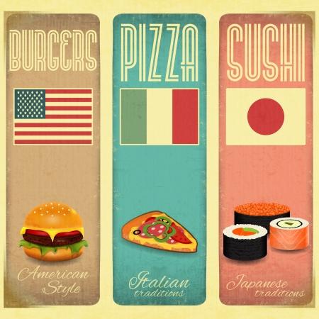 Reihe von vertikalen Jahrgang Menu Card für Fast Food, Pizzeria und Sushi im Retro-Stil. Vektor-Illustration.