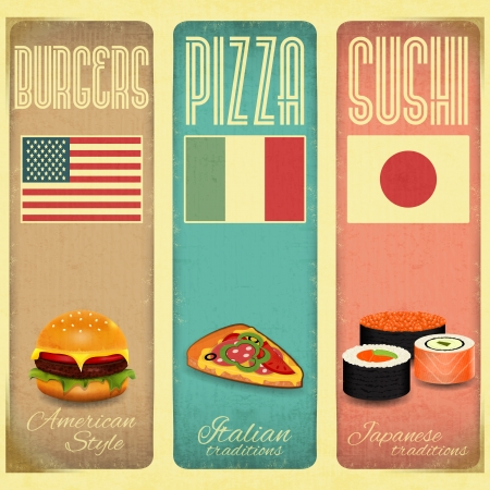 fast foods: Set of Vertical Vintage Menu Card for Fast Food, Pizzeria and Sushi in Retro Style. Vector Illustration.