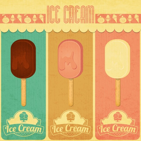 Ice Cream Dessert Vintage Menu Card in Retro Style - three flavors of ice cream. Vector illustration Vector
