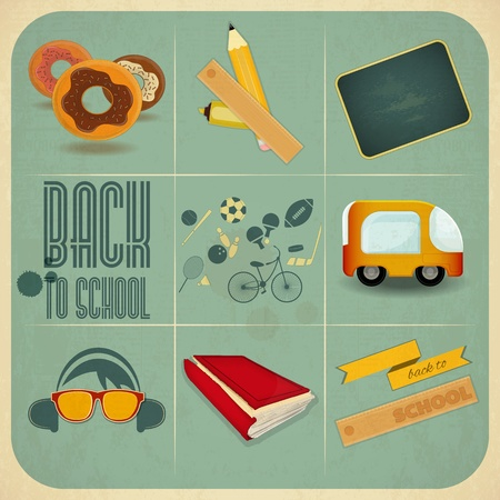 postcard back: Retro Card -  Back to School Design - School Board, Sport Icons and School Supplies on Blue  Background - Vector Illustration