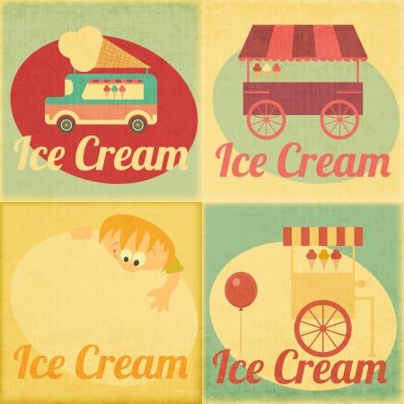 carretto gelati: Set di gelato Retro etichette in stile vintage - Raccolta di Ice Cream elementi di design. Vettoriali