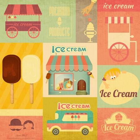 helado de chocolate: Ice Cream Dessert Menu Card Vintage estilo retro - Conjunto de elementos de dise�o de helado.