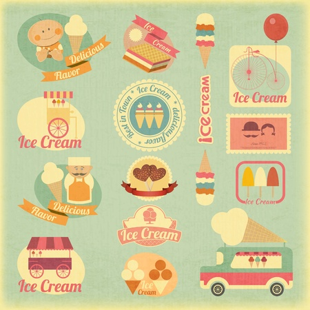 Ice Cream Dessert Vintage Labels in Retro Style - Set of Ice Cream Design Elements. Vector