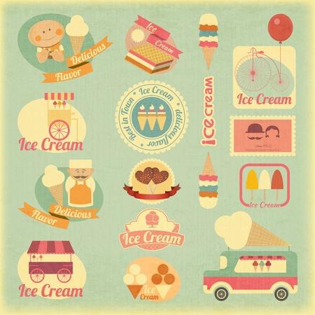 helado de chocolate: Postre de helado etiquetas del vintage en estilo retro - Juego de Ice Cream elementos de dise�o. Vectores