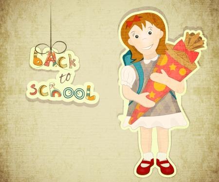 german tradition: Back to School Vintage Card in Austria and German Tradition - Girl holds School Cone. Retro Style. Vector Illustration.  Illustration