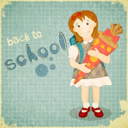 german tradition: Back to School Vintage Card in Austria and German Tradition - Girl holds School Cone, Sugar Bag. Retro Style. Vector Illustration.  Illustration