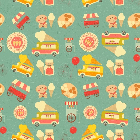 Ice Cream Dessert Vintage Seamless Background in Retro Style. Vector illustration. Vector