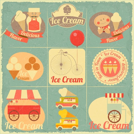 ice cream: Ice Cream Dessert Vintage Menu Cover in Retro Style - Set of Ice Cream Design Elements. Vector illustration.