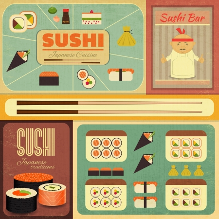 Set of Retro Sushi Labels in Vintage Style. Vector Illustration. Ilustração