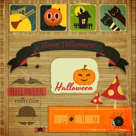 hallowen: Retro Halloween Card in Vintage Style illustration.