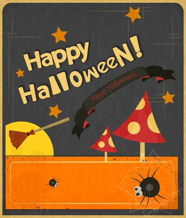 Retro Halloween Card in Vintage Style illustration. Vector