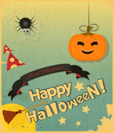 Retro Halloween Card in Vintage Style Illustration Vector