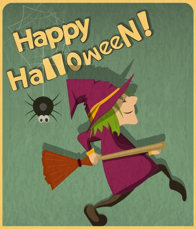 haloween: Retro Halloween Card with witch in Vintage Style. Cartoon Halloween character. Hand Lettering.  Illustration