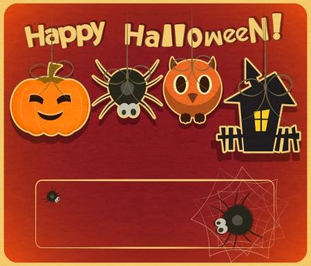 Retro Halloween Card in Vintage Style Illustration. Vector
