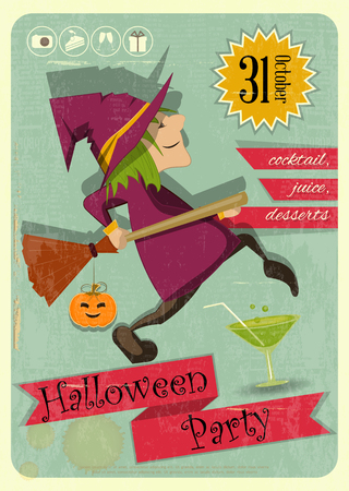 haloween: Retro Halloween Party Invitation with Witch in Vintage Style. Cartoon Halloween character.
