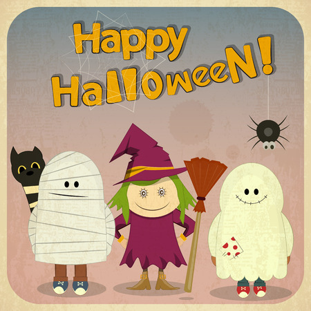 harridan: Retro Halloween Card with witch, mummy, ghost in Vintage Style. Square format. Cartoon Halloween character. Hand Lettering. Vector Illustration.