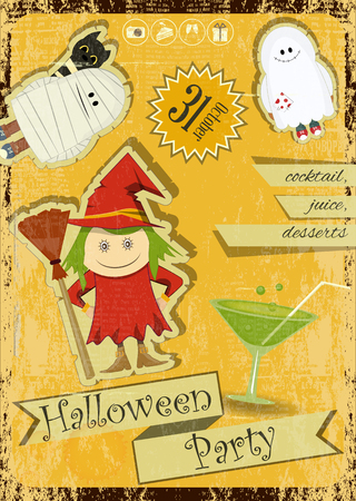 harridan: Retro Halloween Card with witch, mummy, ghost  in Vintage Style. Halloween Party. Vector Illustration. Illustration