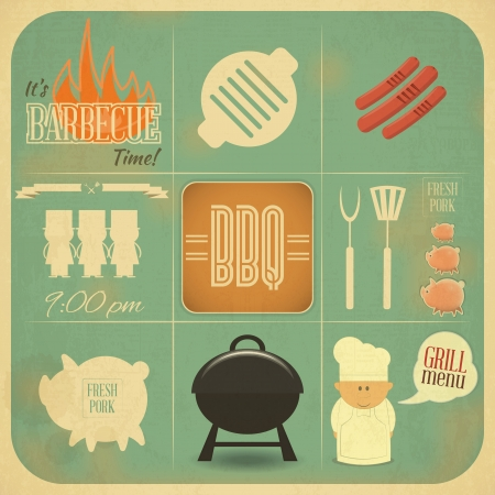 pig roast: Vintage Design Grill and Barbecue Menu. BBQ Retro - Vector illustration