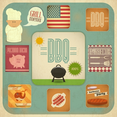 Vintage Design Grill und Grill-Menü. BBQ Retro Set - Vektor-Illustration