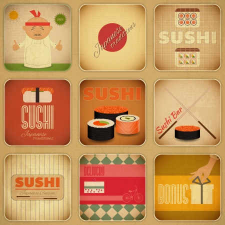 Set of Retro Sushi Labels in Vintage Style in Square format. Vector Illustration.  イラスト・ベクター素材