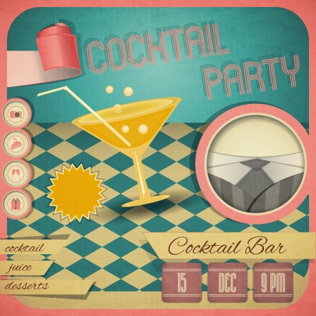 Retro card. Invitation to cocktail party in vintage style. Square format. Vector illustration. Vector