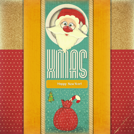Old Xmas and New Year Postcard with Santa Claus and Christmas Decorations on a Vintage background. Vector illustration. Vector