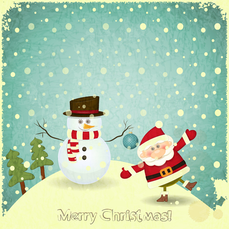 Retro Merry Christmas and New Years Card with Santa Claus and Snowman on a Vintage background. Vector illustration. Vector