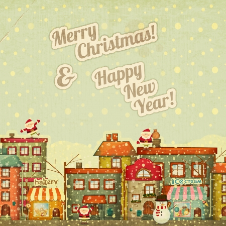 Retro Merry Christmas and New Years Card with Santa Claus and Snowman on a Vintage background winter Town. Vector illustration. Vector