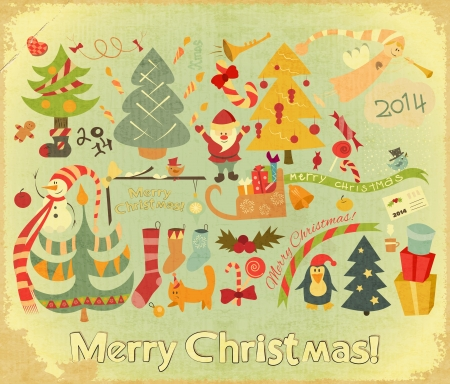 Retro Merry Christmas Card with Santa Claus, Christmas Tree and Snowman in Vintage Style. Vector illustration.