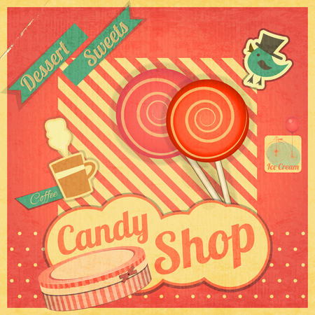 sweet shop: Candy Sweet Shop. Vintage Card Retro. Vector illustration