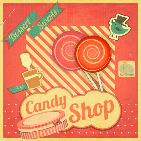 candy shop: Candy Sweet Shop. Vintage Card Retro. Vector illustration