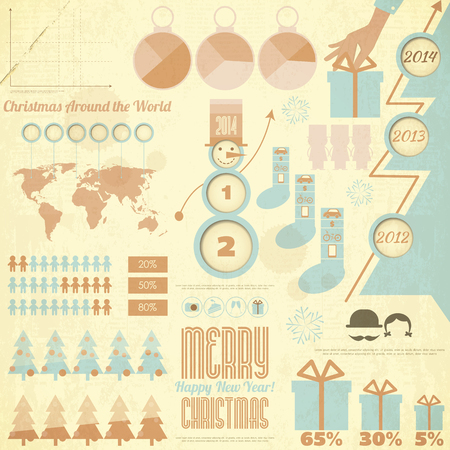Vintage Christmas and New Year Infographic in Retro Style. Vector illustration.