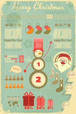 Vintage Christmas and New Year Infographic with Santa Claus  in Retro Style. Vertical format. Vector illustration. Vector