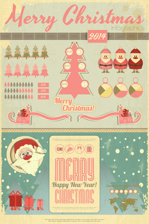 Vintage Christmas and New Year Infographic with Santa Claus and Sleigh in Retro Style. Vector illustration.