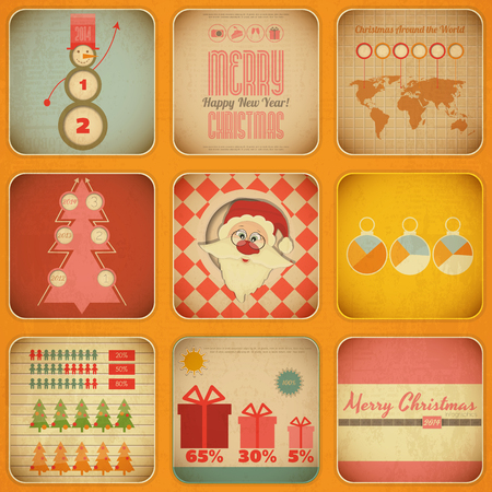 Vintage Christmas and New Year Infographic with Santa Claus  in Retro Style. Christmas Set. Vector illustration. Vector