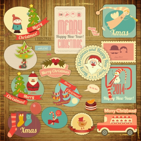 Retro Merry Christmas Label Set with Santa Claus and Christmas Items on Wooden Grunge Background. Vector illustration.