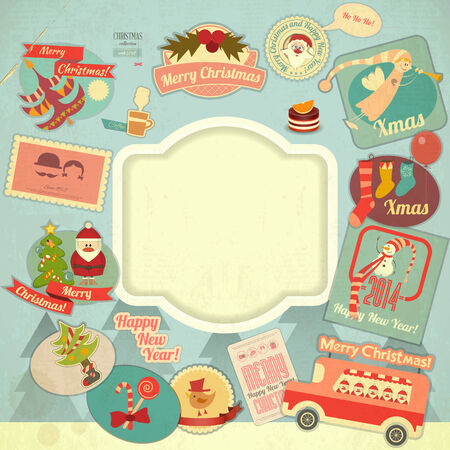 Retro Merry Christmas Label Set with Santa Claus and Christmas Items. Christmas Frame. Vector illustration.