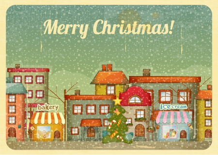 Retro Merry Christmas and New Years Card with Christmas Tree on a Vintage background winter Town. Vector illustration.