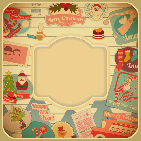 Retro Merry Christmas Card with Santa Claus and Christmas Items. Christmas Frame. Vector illustration. Vector