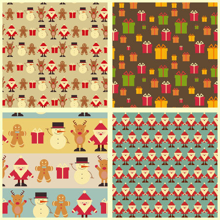 Set of Christmas Seamless Vintage backgrounds.   Vector