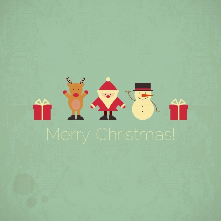 Retro Merry Christmas Card with Santa Claus, Christmas Deer and Snowman in Vintage Style.