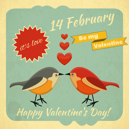 Retro Design of Valentines Card with two Cartoon Birds and Hearts on in Retro Style.  Vector