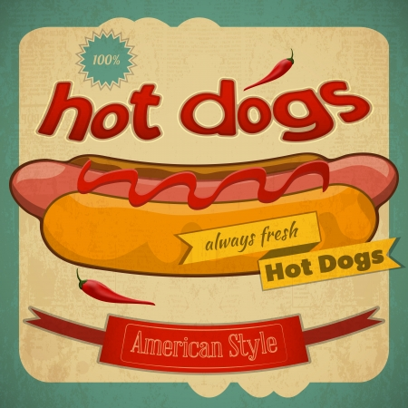 hot dog: Grunge Cover for Fast Food Menu - Hot Dog on Vintage Background.  Illustration