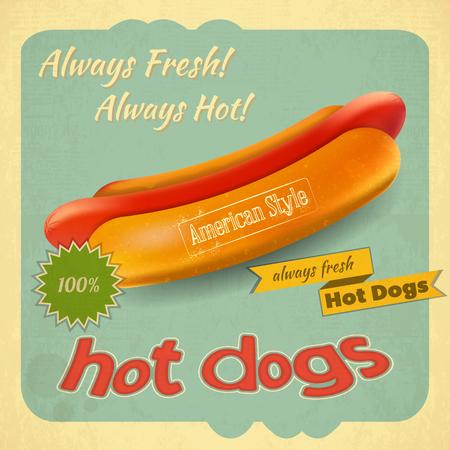 Retro Cover for Fast Food Menu - Hot Dog on Vintage Background.