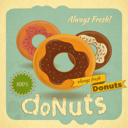 donut: Retro postcard, Cover menu - Donuts on Vintage background.  Illustration