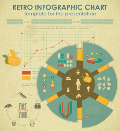 Elements of Infographics for presentations. Fast Food and Healthy Eating.  Illustration